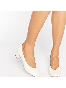 Antidote White Leather Mid Heeled Shoes White Leather - predominant colour: white; occasions: evening; material: leather; heel height: mid; heel: block; toe: round toe; style: courts; finish: plain; pattern: plain; season: a/w 2016; wardrobe: event