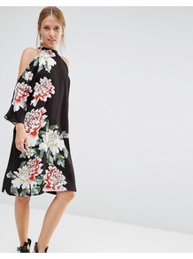 Floral Printed Cold Shoulder Oversized Midi Dress Black - style: trapeze; fit: loose; neckline: high neck; bust detail: subtle bust detail; secondary colour: white; predominant colour: black; occasions: evening; length: on the knee; fibres: polyester/polyamide - 100%; shoulder detail: cut out shoulder; sleeve length: long sleeve; sleeve style: standard; pattern type: fabric; pattern size: big & busy; pattern: florals; texture group: jersey - stretchy/drapey; multicoloured: multicoloured; season: a/w 2016; wardrobe: event