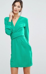 Wrap Front Dress Turquoise - style: faux wrap/wrap; length: mid thigh; neckline: v-neck; pattern: plain; predominant colour: emerald green; occasions: evening; fit: body skimming; fibres: polyester/polyamide - 100%; sleeve length: long sleeve; sleeve style: standard; texture group: crepes; pattern type: fabric; pattern size: standard; season: a/w 2016; wardrobe: event