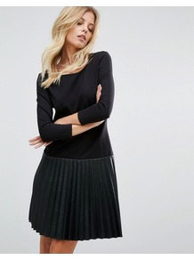 Faux Leather Pleated Black Dress Black - style: a-line; neckline: round neck; pattern: plain; predominant colour: black; occasions: casual, creative work; length: just above the knee; fit: soft a-line; fibres: polyester/polyamide - 100%; sleeve length: long sleeve; sleeve style: standard; pattern type: fabric; pattern size: standard; texture group: woven light midweight; wardrobe: basic; season: a/w 2016