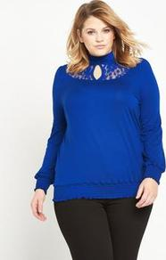 Lace Insert Prairie Shirred Top Cobalt Blue - pattern: plain; neckline: high neck; predominant colour: royal blue; occasions: casual; length: standard; style: top; fibres: polyester/polyamide - 100%; fit: body skimming; sleeve length: long sleeve; sleeve style: standard; pattern type: fabric; texture group: jersey - stretchy/drapey; embellishment: lace; season: a/w 2016; wardrobe: highlight