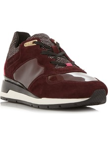 D Shahira Combination Runner Trainers, Burgundy - secondary colour: ivory/cream; predominant colour: burgundy; occasions: casual, activity; material: leather; heel height: flat; toe: round toe; style: trainers; finish: patent; pattern: polka dot; shoe detail: platform with tread; season: a/w 2016