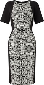 Embroidered Panel Sheath Dress, Multi Coloured - style: shift; fit: tailored/fitted; pattern: plain; secondary colour: white; predominant colour: black; occasions: evening; length: on the knee; fibres: nylon - mix; neckline: crew; sleeve length: short sleeve; sleeve style: standard; pattern type: fabric; texture group: other - light to midweight; embellishment: lace; multicoloured: multicoloured; season: a/w 2016; wardrobe: event; embellishment location: pattern