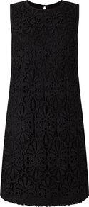 Heavy Lace Shift Dress, Black - style: shift; length: mini; sleeve style: sleeveless; predominant colour: black; occasions: evening, occasion; fit: soft a-line; fibres: polyester/polyamide - 100%; neckline: crew; sleeve length: sleeveless; texture group: lace; pattern type: fabric; pattern size: standard; pattern: patterned/print; season: a/w 2016; wardrobe: event