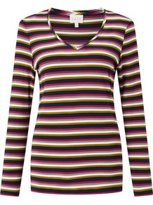 Stripe Round Neck Top, Multi Coloured - neckline: v-neck; pattern: horizontal stripes; secondary colour: hot pink; predominant colour: black; occasions: casual; length: standard; style: top; fibres: viscose/rayon - stretch; fit: body skimming; sleeve length: long sleeve; sleeve style: standard; pattern type: fabric; pattern size: standard; texture group: jersey - stretchy/drapey; multicoloured: multicoloured; season: a/w 2016; wardrobe: highlight