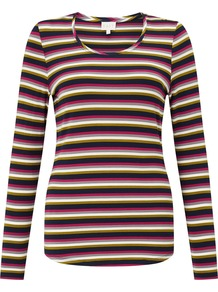 Stripe V Neck Top, Multi Coloured - pattern: horizontal stripes; secondary colour: hot pink; predominant colour: black; occasions: casual; length: standard; style: top; fibres: viscose/rayon - stretch; fit: body skimming; neckline: crew; sleeve length: long sleeve; sleeve style: standard; pattern type: fabric; pattern size: standard; texture group: jersey - stretchy/drapey; multicoloured: multicoloured; season: a/w 2016; wardrobe: highlight