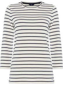Stripe Top, Off White - neckline: round neck; pattern: horizontal stripes; predominant colour: ivory/cream; occasions: casual, creative work; length: standard; style: top; fibres: cotton - 100%; fit: body skimming; sleeve length: long sleeve; sleeve style: standard; pattern type: fabric; texture group: jersey - stretchy/drapey; pattern size: big & busy (top); wardrobe: basic; season: a/w 2016