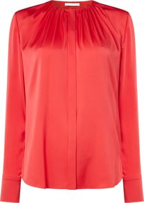 Banora Silk Pleat Round Neck Blouse, Pink - pattern: plain; style: blouse; bust detail: subtle bust detail; occasions: evening, creative work; length: standard; fibres: silk - 100%; fit: loose; neckline: crew; sleeve length: long sleeve; sleeve style: standard; texture group: silky - light; pattern type: fabric; predominant colour: raspberry; season: a/w 2016; wardrobe: highlight