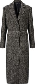 Long Salt And Pepper Coat, White - pattern: plain; style: single breasted; fit: slim fit; collar: standard lapel/rever collar; length: calf length; predominant colour: charcoal; occasions: casual; fibres: polyester/polyamide - mix; waist detail: belted waist/tie at waist/drawstring; sleeve length: long sleeve; sleeve style: standard; collar break: medium; pattern type: fabric; texture group: tweed - bulky/heavy; wardrobe: basic; season: a/w 2016