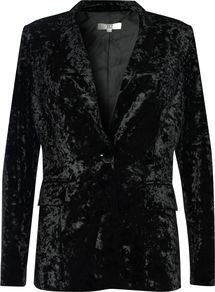 Velvet Blazer, Black - pattern: plain; style: single breasted blazer; collar: standard lapel/rever collar; predominant colour: black; occasions: evening, creative work; length: standard; fit: tailored/fitted; fibres: polyester/polyamide - stretch; sleeve length: long sleeve; sleeve style: standard; collar break: medium; pattern type: fabric; texture group: velvet/fabrics with pile; season: a/w 2016; wardrobe: highlight; trends: velvet
