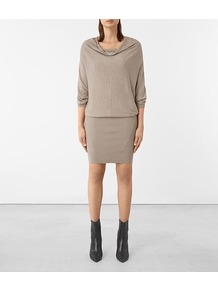 Elgar Dress - style: shift; neckline: cowl/draped neck; pattern: plain; predominant colour: stone; occasions: casual; length: just above the knee; fit: body skimming; fibres: cotton - 100%; sleeve length: 3/4 length; sleeve style: standard; texture group: knits/crochet; pattern type: knitted - fine stitch; wardrobe: basic; season: a/w 2016