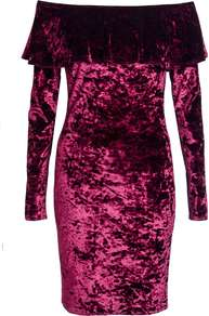 Womens **Quiz Velvet Bodycon Dress Berry - length: mini; neckline: off the shoulder; fit: tight; pattern: plain; style: bodycon; hip detail: fitted at hip; predominant colour: magenta; occasions: evening; fibres: polyester/polyamide - stretch; sleeve length: long sleeve; sleeve style: standard; bust detail: tiers/frills/bulky drapes/pleats; pattern type: fabric; texture group: velvet/fabrics with pile; season: a/w 2016; wardrobe: event; trends: velvet