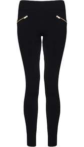 Womens **Quiz Fleece Lined Leggings Black - length: standard; pattern: plain; style: leggings; waist: mid/regular rise; predominant colour: black; occasions: casual, creative work; fibres: polyester/polyamide - stretch; fit: skinny/tight leg; pattern type: fabric; texture group: woven light midweight; embellishment: zips; season: a/w 2016; wardrobe: highlight