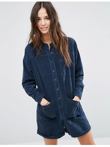 Cord Long Sleeve Romper In Blue Grey - fit: loose; pattern: plain; bust detail: pocket detail at bust; length: short shorts; predominant colour: navy; occasions: casual; fibres: cotton - stretch; neckline: crew; sleeve length: long sleeve; sleeve style: standard; texture group: corduroy; style: playsuit; pattern type: fabric; season: a/w 2016; wardrobe: highlight