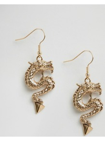 Dragon Spike Earrings Gold - predominant colour: gold; occasions: evening, occasion; style: drop; length: long; size: standard; material: chain/metal; fastening: pierced; finish: metallic; season: a/w 2016; wardrobe: event
