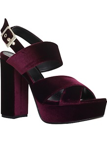 Gorgeous Occasion Block Heeled Platform Sandals - predominant colour: aubergine; occasions: evening; material: velvet; heel height: high; embellishment: buckles; ankle detail: ankle strap; heel: block; toe: open toe/peeptoe; style: strappy; finish: plain; pattern: plain; shoe detail: platform; season: a/w 2016; wardrobe: event