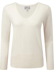Elsa Superfine V Neck Jumper, Soft White - neckline: v-neck; pattern: plain; style: standard; predominant colour: ivory/cream; occasions: casual, creative work; length: standard; fit: standard fit; fibres: cashmere - 100%; sleeve length: long sleeve; sleeve style: standard; texture group: knits/crochet; pattern type: knitted - fine stitch; wardrobe: investment; season: a/w 2016