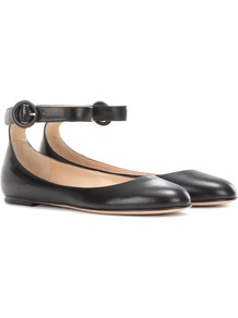 Virna Flat Leather Ballerinas - predominant colour: black; occasions: casual, work, creative work; material: leather; heel height: flat; ankle detail: ankle strap; toe: round toe; style: ballerinas / pumps; finish: plain; pattern: plain; wardrobe: basic; season: a/w 2016
