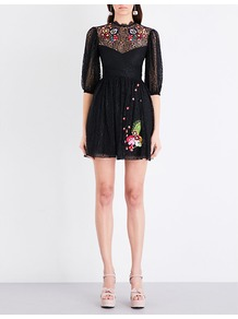 Leo Lace Dress, Women's, Black - length: mini; sleeve style: balloon; predominant colour: black; occasions: evening; fit: fitted at waist & bust; style: fit & flare; fibres: nylon - 100%; neckline: crew; sleeve length: 3/4 length; texture group: lace; pattern type: fabric; pattern size: light/subtle; pattern: patterned/print; embellishment: applique; season: a/w 2016; wardrobe: event; embellishment location: bust, hem, neck