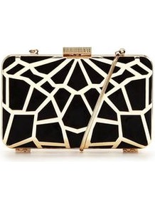Cutwork Hard Box Clutch - predominant colour: gold; secondary colour: black; occasions: evening, occasion; type of pattern: light; style: clutch; length: hand carry; size: small; material: faux leather; finish: metallic; pattern: patterned/print; embellishment: chain/metal; season: a/w 2016; wardrobe: event; trends: metallics
