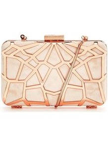 Cutwork Hard Box Clutch - secondary colour: nude; predominant colour: gold; occasions: evening, occasion; type of pattern: light; style: clutch; length: hand carry; size: small; material: faux leather; finish: metallic; pattern: patterned/print; embellishment: chain/metal; season: a/w 2016; wardrobe: event