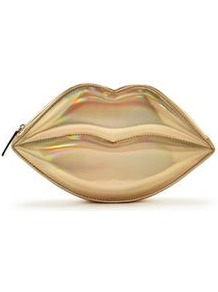 Lip Clutch - predominant colour: gold; occasions: evening, occasion; type of pattern: standard; style: clutch; length: hand carry; size: small; material: faux leather; pattern: animal print; finish: metallic; season: a/w 2016; wardrobe: event