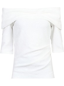 Three Quarter Sleeve Bardot Neck Top, White - neckline: slash/boat neckline; pattern: plain; predominant colour: white; occasions: casual; length: standard; style: top; fibres: polyester/polyamide - 100%; fit: body skimming; sleeve length: half sleeve; sleeve style: standard; texture group: jersey - clingy; pattern type: fabric; wardrobe: basic; season: a/w 2016