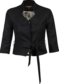 High Collar Belted Blazer, Black - pattern: plain; style: single breasted blazer; collar: mandarin; predominant colour: black; occasions: evening; fit: tailored/fitted; fibres: polyester/polyamide - stretch; sleeve length: 3/4 length; sleeve style: standard; collar break: high; pattern type: fabric; texture group: woven light midweight; length: cropped; season: a/w 2016; wardrobe: event