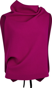 Eugene Orchid Open Back Wool Top - neckline: cowl/draped neck; pattern: plain; sleeve style: sleeveless; back detail: back revealing; style: blouse; bust detail: subtle bust detail; predominant colour: magenta; occasions: evening; length: standard; fibres: wool - 100%; fit: body skimming; sleeve length: sleeveless; pattern type: fabric; texture group: woven light midweight; season: a/w 2016; wardrobe: event