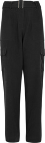 Nargot Black Washed Silk Cargo Trousers - length: standard; pattern: plain; waist: high rise; predominant colour: black; fibres: silk - 100%; fit: slim leg; pattern type: fabric; texture group: woven light midweight; style: standard; occasions: creative work; pattern size: standard (bottom); wardrobe: basic; season: a/w 2016