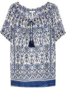 Masha Paisley Print Silk Chiffon Top - neckline: round neck; pattern: paisley; predominant colour: white; secondary colour: denim; occasions: casual; length: standard; style: top; fibres: silk - 100%; fit: loose; sleeve length: short sleeve; sleeve style: standard; texture group: sheer fabrics/chiffon/organza etc.; pattern type: fabric; pattern size: standard; multicoloured: multicoloured; season: a/w 2016; wardrobe: highlight