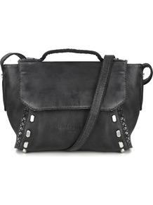 Saitama Bag - predominant colour: black; occasions: casual; type of pattern: standard; style: satchel; length: across body/long; size: standard; material: faux leather; embellishment: studs; pattern: plain; finish: plain; season: a/w 2016; wardrobe: highlight