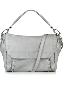 Fujimi Bag - predominant colour: light grey; occasions: casual, creative work; type of pattern: standard; style: shoulder; length: shoulder (tucks under arm); size: standard; material: leather; pattern: plain; finish: plain; wardrobe: investment; season: a/w 2016