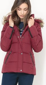 Short Hooded Padded Jacket - pattern: plain; length: below the bottom; back detail: hood; style: boxy; occasions: casual; fit: straight cut (boxy); fibres: polyester/polyamide - 100%; collar: shirt collar/peter pan/zip with opening; sleeve length: long sleeve; sleeve style: standard; collar break: high/illusion of break when open; pattern type: fabric; texture group: other - light to midweight; embellishment: fur; predominant colour: raspberry; season: a/w 2016; wardrobe: highlight; embellishment location: back