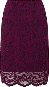 Alia Lace Pencil Skirt, Dark Purple - style: pencil; fit: tailored/fitted; waist: high rise; predominant colour: magenta; secondary colour: navy; occasions: evening, occasion; length: on the knee; fibres: polyester/polyamide - stretch; texture group: lace; pattern type: fabric; pattern: patterned/print; pattern size: standard (bottom); season: a/w 2016; wardrobe: event