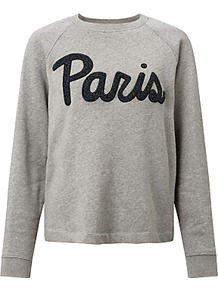 Aphia Paris Sweatshirt, Dark Grey Melange - sleeve style: raglan; style: sweat top; predominant colour: mid grey; secondary colour: black; occasions: casual; length: standard; fibres: cotton - mix; fit: loose; neckline: crew; sleeve length: long sleeve; pattern type: fabric; pattern size: standard; texture group: jersey - stretchy/drapey; pattern: graphic/slogan; season: a/w 2016; wardrobe: highlight; embellishment: contrast fabric; embellishment location: bust