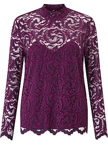 Alia Lace Top, Dark Purple - pattern: plain; neckline: high neck; predominant colour: purple; occasions: evening; length: standard; style: top; fibres: polyester/polyamide - stretch; fit: straight cut; sleeve length: long sleeve; sleeve style: standard; texture group: lace; pattern type: fabric; pattern size: standard; season: a/w 2016; wardrobe: event