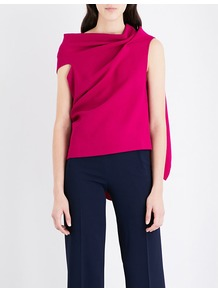 Eugene Wool Crepe Top, Women's, Purple - pattern: plain; sleeve style: asymmetric sleeve; length: below the bottom; neckline: asymmetric; predominant colour: hot pink; occasions: evening; style: top; fibres: wool - 100%; fit: loose; back detail: longer hem at back than at front; sleeve length: sleeveless; pattern type: fabric; texture group: woven light midweight; season: a/w 2016; wardrobe: event