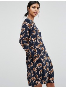 Floral Print Dress Flower - style: tunic; predominant colour: navy; secondary colour: camel; occasions: casual, creative work; length: just above the knee; fit: soft a-line; fibres: polyester/polyamide - 100%; neckline: crew; sleeve length: long sleeve; sleeve style: standard; pattern type: fabric; pattern size: standard; pattern: florals; texture group: woven light midweight; season: a/w 2016; wardrobe: highlight