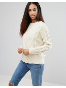 Polo Ralph Lauren Classic Aran Knit Jumper Cream - style: standard; pattern: cable knit; predominant colour: ivory/cream; occasions: casual, creative work; length: standard; fibres: cotton - mix; fit: standard fit; neckline: crew; sleeve length: long sleeve; sleeve style: standard; texture group: knits/crochet; pattern type: knitted - other; pattern size: standard; season: a/w 2016; wardrobe: highlight