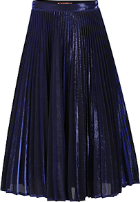 Metallic Pleated A Line Skirt - length: below the knee; pattern: plain; fit: loose/voluminous; waist: high rise; predominant colour: navy; occasions: evening, occasion; style: a-line; fibres: polyester/polyamide - stretch; texture group: sheer fabrics/chiffon/organza etc.; pattern type: fabric; season: a/w 2016; wardrobe: event; trends: metallics