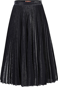 Metallic Pleated A Line Skirt - length: below the knee; pattern: plain; fit: loose/voluminous; waist: high rise; predominant colour: black; occasions: evening, occasion; style: a-line; fibres: polyester/polyamide - stretch; texture group: sheer fabrics/chiffon/organza etc.; pattern type: fabric; season: a/w 2016; wardrobe: event; trends: metallics