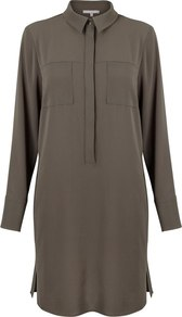Laverne Shirt Dress - style: shirt; length: mid thigh; neckline: shirt collar/peter pan/zip with opening; fit: loose; pattern: plain; hip detail: draws attention to hips; predominant colour: khaki; occasions: casual, creative work; fibres: polyester/polyamide - 100%; sleeve length: long sleeve; sleeve style: standard; texture group: crepes; bust detail: bulky details at bust; pattern type: fabric; wardrobe: basic; season: a/w 2016