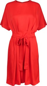 Rimini Kimono Sleeve Belted Dress - style: shift; pattern: plain; waist detail: belted waist/tie at waist/drawstring; predominant colour: true red; occasions: evening; length: just above the knee; fit: straight cut; fibres: viscose/rayon - 100%; neckline: crew; sleeve length: short sleeve; sleeve style: standard; pattern type: fabric; texture group: jersey - stretchy/drapey; season: a/w 2016; wardrobe: event
