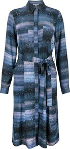 Cosmic Print Shirt Dress - style: shirt; length: below the knee; neckline: shirt collar/peter pan/zip with opening; fit: fitted at waist; waist detail: belted waist/tie at waist/drawstring; secondary colour: pale blue; predominant colour: navy; occasions: casual, creative work; fibres: polyester/polyamide - 100%; hip detail: subtle/flattering hip detail; sleeve length: long sleeve; sleeve style: standard; pattern type: fabric; pattern size: standard; pattern: patterned/print; texture group: woven light midweight; season: a/w 2016; wardrobe: highlight