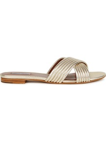 Lassie Gold Leather Sliders - predominant colour: gold; occasions: casual, holiday; material: leather; heel height: flat; heel: standard; toe: open toe/peeptoe; style: slides; finish: metallic; pattern: plain; season: a/w 2016; wardrobe: highlight