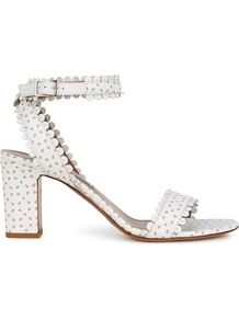Leticia White Perforated Leather Sandals - predominant colour: white; occasions: evening, holiday; material: leather; heel height: high; ankle detail: ankle strap; heel: block; toe: open toe/peeptoe; style: strappy; finish: plain; pattern: plain; wardrobe: investment; season: a/w 2016