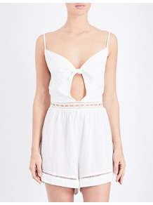 Knot Detailed Woven Playsuit, Women's, Size: Large, White - neckline: low v-neck; sleeve style: spaghetti straps; pattern: plain; back detail: back revealing; bust detail: subtle bust detail; length: short shorts; predominant colour: ivory/cream; occasions: casual, holiday; fit: body skimming; fibres: viscose/rayon - 100%; waist detail: cut out detail; sleeve length: sleeveless; style: playsuit; pattern type: fabric; texture group: woven light midweight; season: a/w 2016; wardrobe: holiday