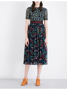 Jackie Floral Embroidered Tulle Midi Dress, Women's, Garden Emb/Flower Emb - length: calf length; secondary colour: burgundy; predominant colour: dark green; occasions: evening; fit: fitted at waist & bust; style: fit & flare; fibres: polyester/polyamide - 100%; neckline: crew; sleeve length: short sleeve; sleeve style: standard; texture group: sheer fabrics/chiffon/organza etc.; pattern type: fabric; pattern: florals; multicoloured: multicoloured; season: a/w 2016; wardrobe: event; trends: opulent prints