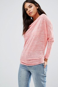 Cowl Front Top Coral - neckline: cowl/draped neck; sleeve style: dolman/batwing; pattern: plain; predominant colour: coral; occasions: casual, creative work; length: standard; style: top; fibres: viscose/rayon - stretch; fit: body skimming; sleeve length: long sleeve; pattern type: fabric; texture group: jersey - stretchy/drapey; season: a/w 2016; wardrobe: highlight